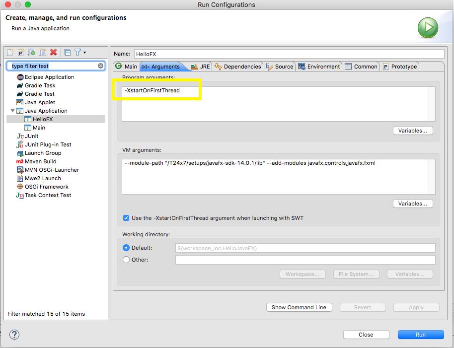 JavaFX - Eclipse - Runtime Config