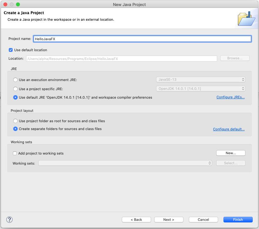 JavaFX - Eclipse - Configure Project