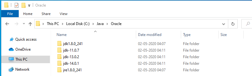 Multiple Java - Windows 10 - All