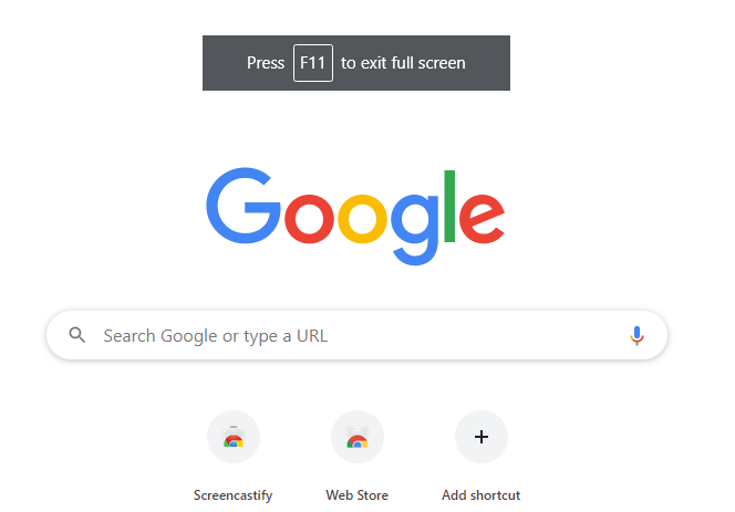 Google Chrome Full Screen Mode