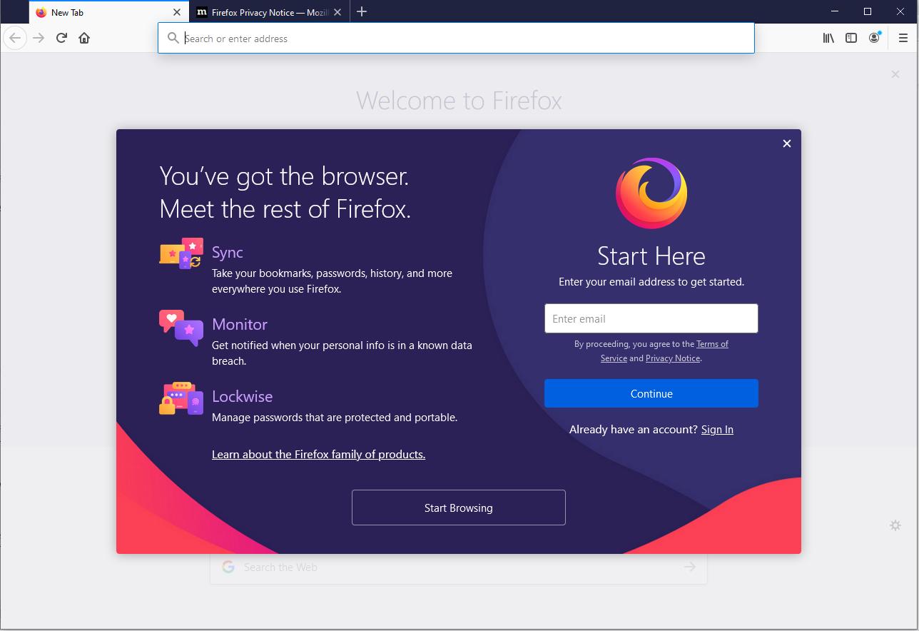 Mozilla Firefox - Windows - Welcome