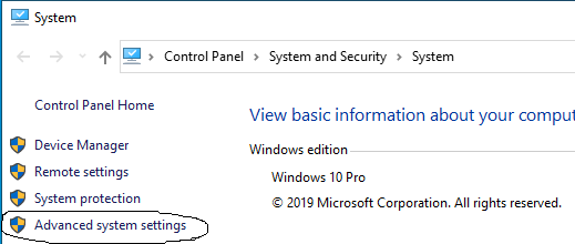 Multiple Java - Windows 10 - Advanced settings