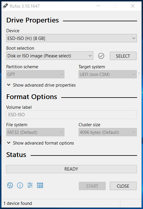 Windows 10 Bootable USB - Rufus