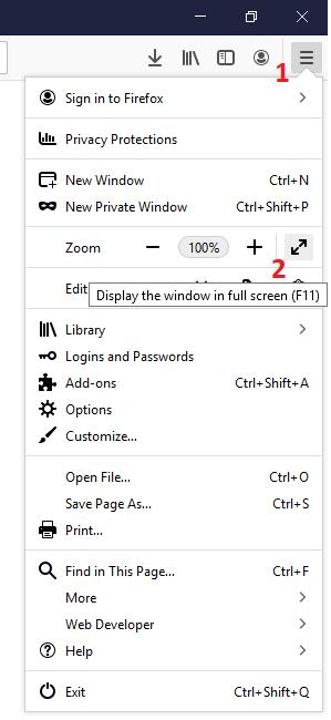 Enable Full Screen Mode In Firefox