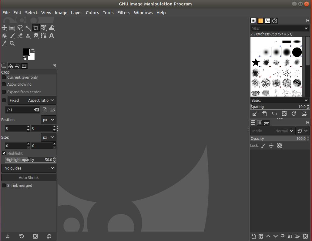 GIMP on Ubuntu - Default