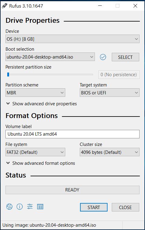 Bootable USB - Ubuntu 20.04 LTS - Rufus with ISO
