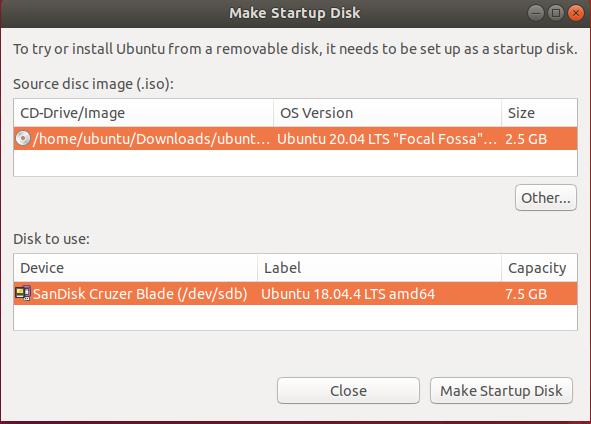 Bootable USB of Ubuntu - Startup Disk Creator