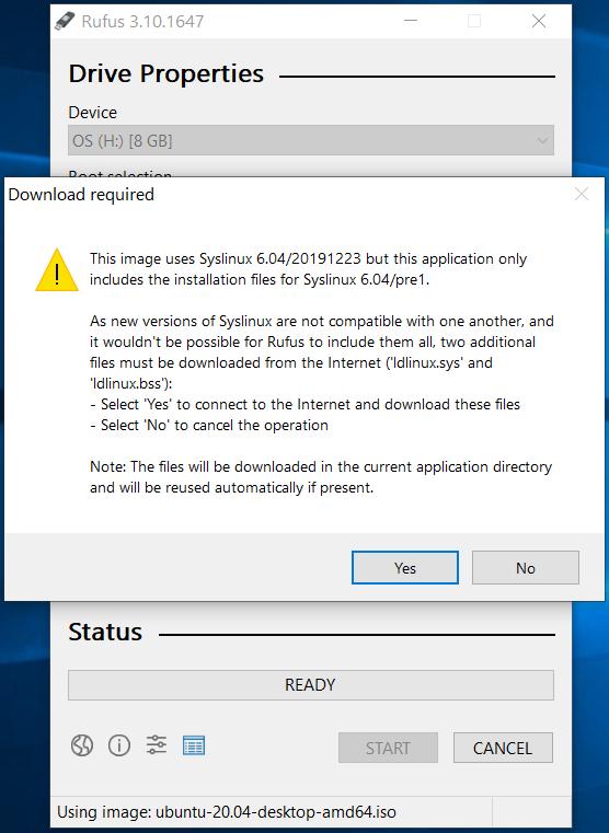 Bootable USB - Ubuntu 20.04 LTS - Rufus Additionals