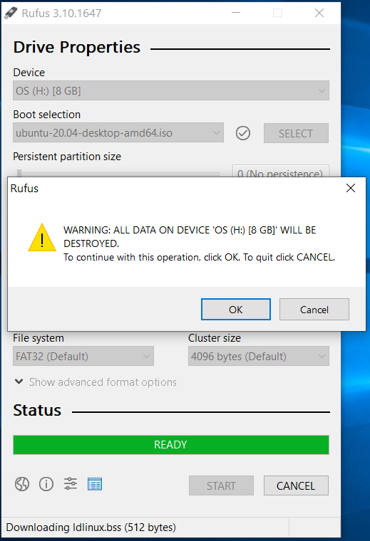 Bootable USB - Ubuntu 20.04 LTS - Rufus Format