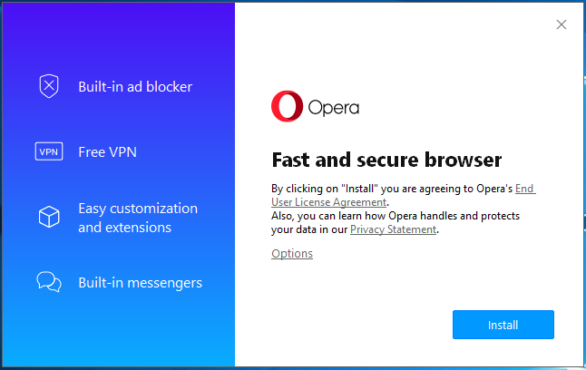 Install Opera On Windows - Installer