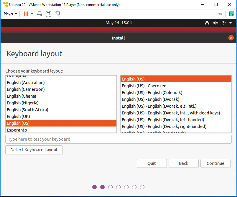 Ubuntu 20.04 LTS on Windows using VMware - Keyboard Layout