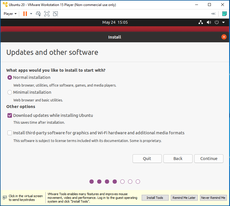Ubuntu 20.04 LTS on Windows using VMware - Installation Type