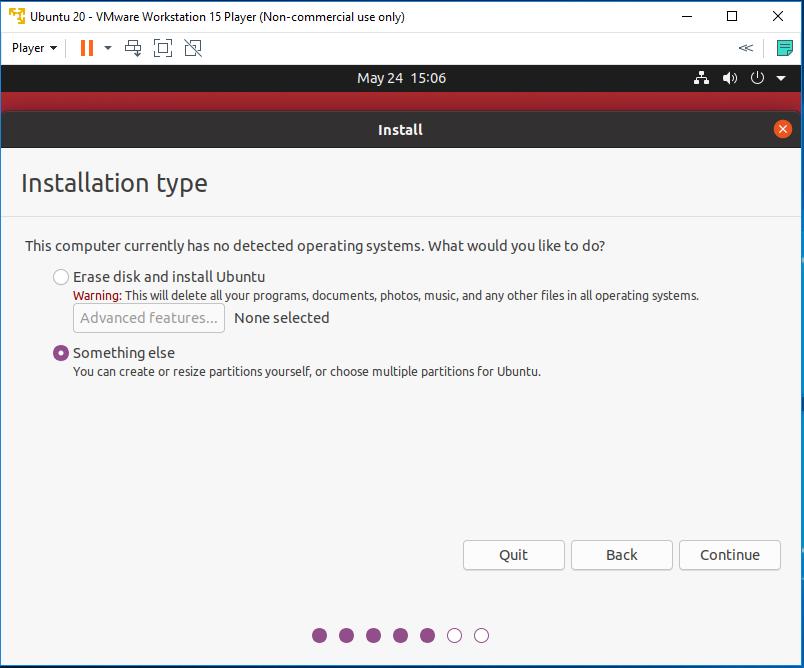 Ubuntu 20.04 LTS on Windows using VMware - Installation Type