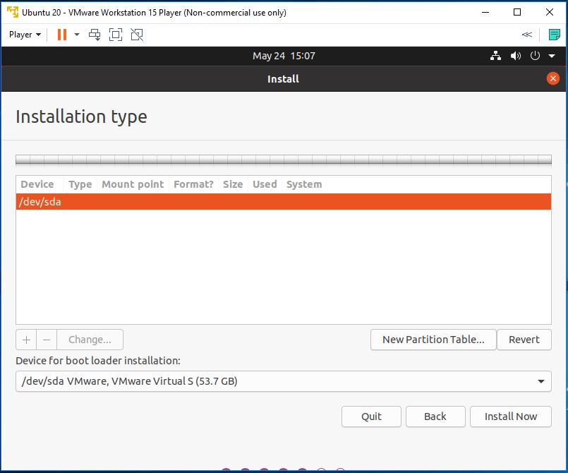 Ubuntu 20.04 LTS on Windows using VMware - Partitioning