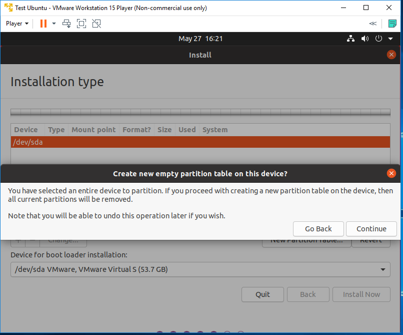 Ubuntu 20.04 LTS on Windows using VMware - Partitioning