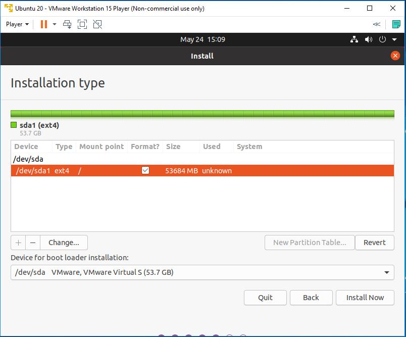 Ubuntu 20.04 LTS on Windows using VMware - Root Drive
