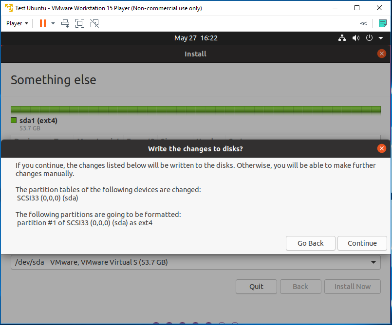 Ubuntu 20.04 LTS on Windows using VMware - Confirm Partitions