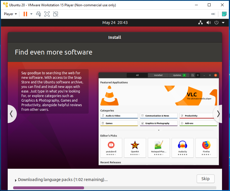 Ubuntu 20.04 LTS on Windows using VMware - Installation Progress