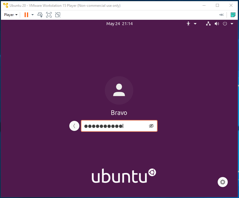 Ubuntu 20.04 LTS on Windows using VMware - Login