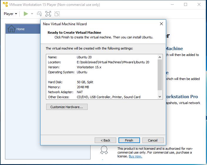 Ubuntu 20.04 LTS on Windows using VMware - Virtual Machine Configuration