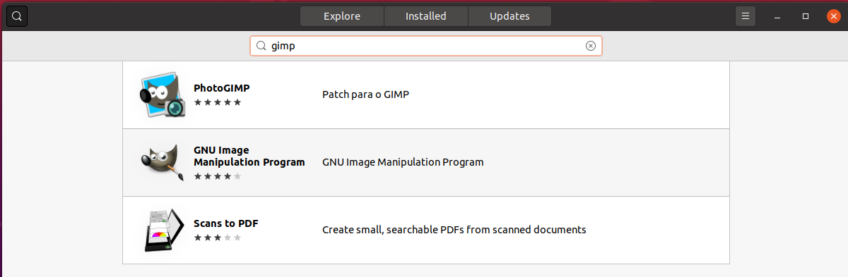Install GIMP On Ubuntu 20.04 - Search
