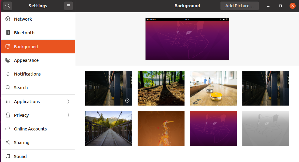Change Background - Ubuntu 20.04 - Background Settings