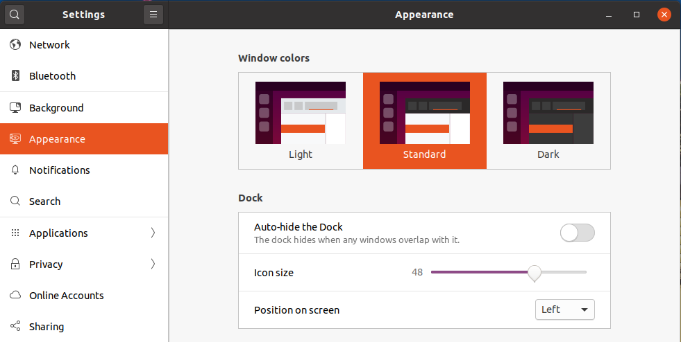 Icons Size and Position - Ubuntu 20.04 LTS - Dock Settings