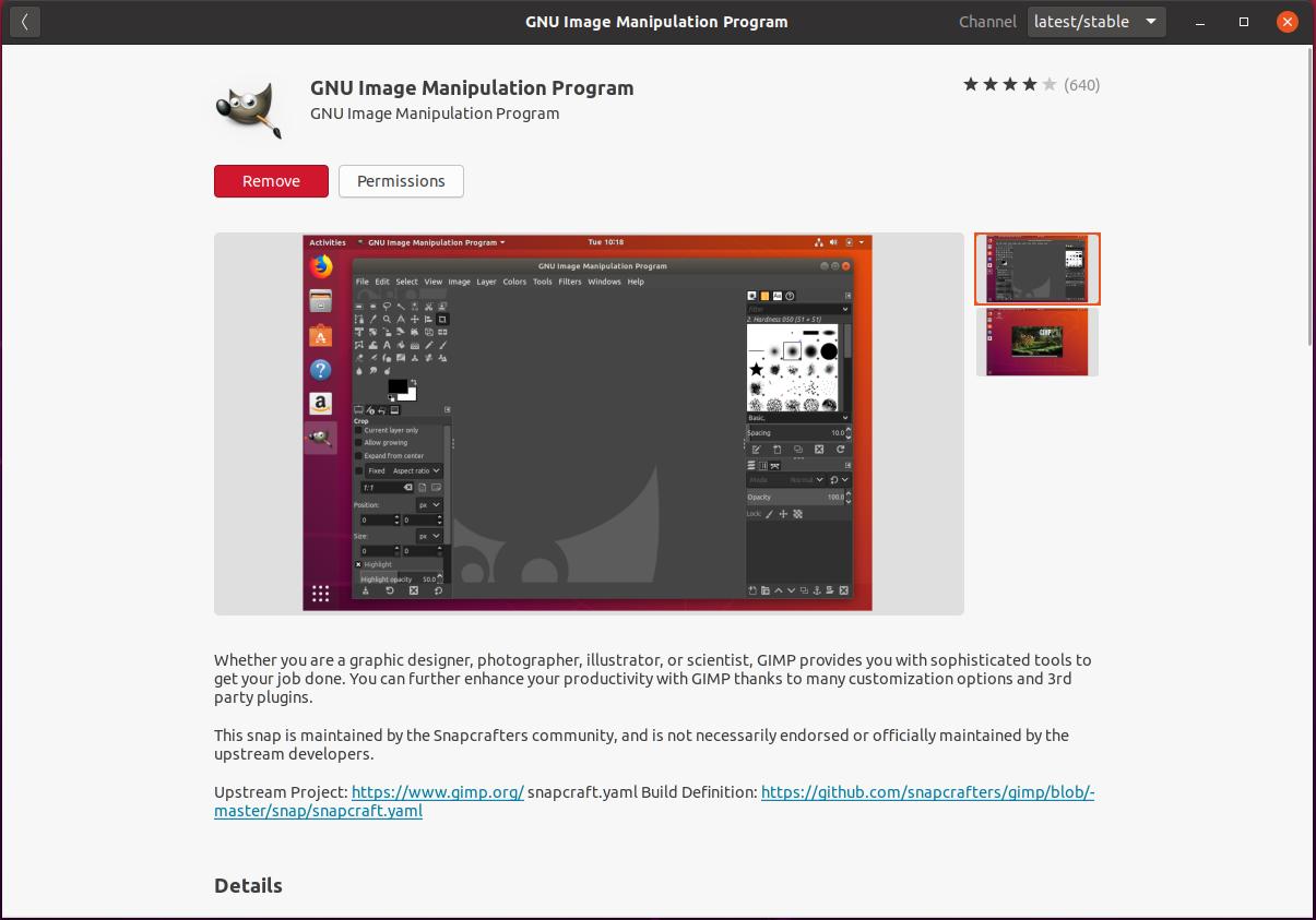 Install GIMP On Ubuntu 20.04 - Installed