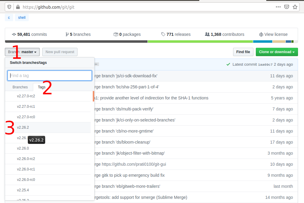 Install Git on Ubuntu 20.04 LTS - Select Branch