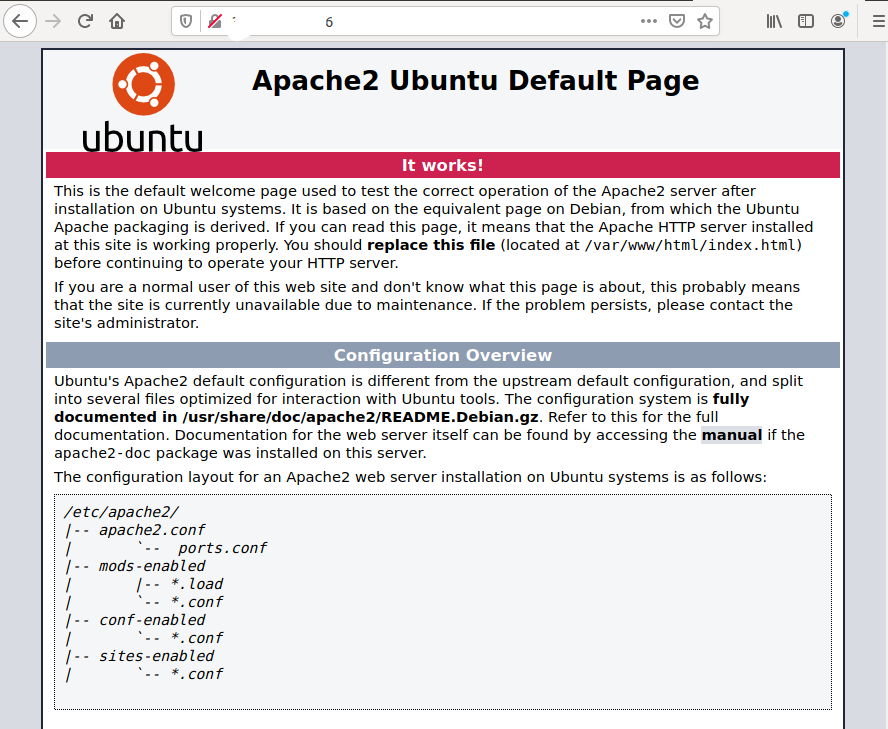 LAMP Server - Ubuntu 20.04 LTS - Apache Home Page