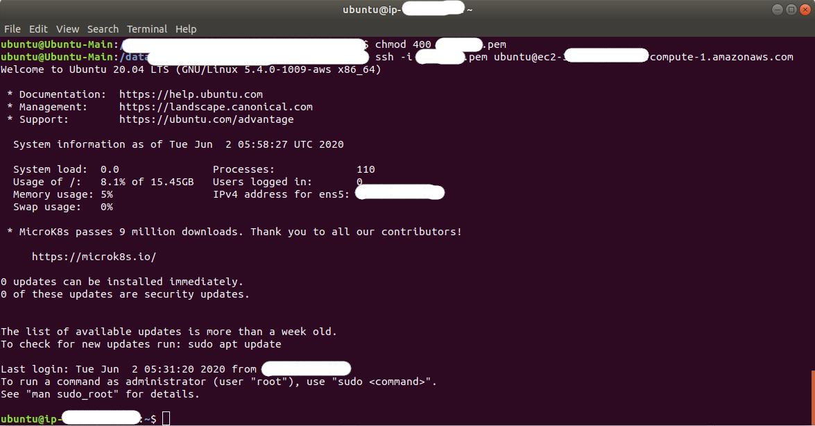 Ubuntu 20.04 LTS On AWS EC2 - Terminal