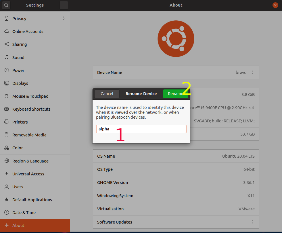 Ubuntu 20.04 LTS - Change Hostname