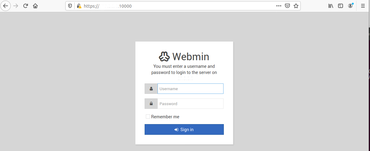 Webmin On Ubuntu 20.04 LTS - Login Screen