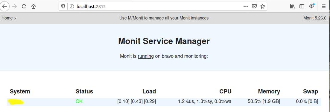 Monit On Ubuntu 20.04 LTS - Dashboard