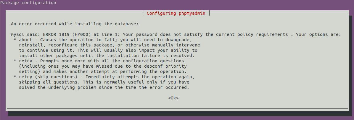 Install phpMyAdmin On Ubuntu 20.04 LTS - Password Error