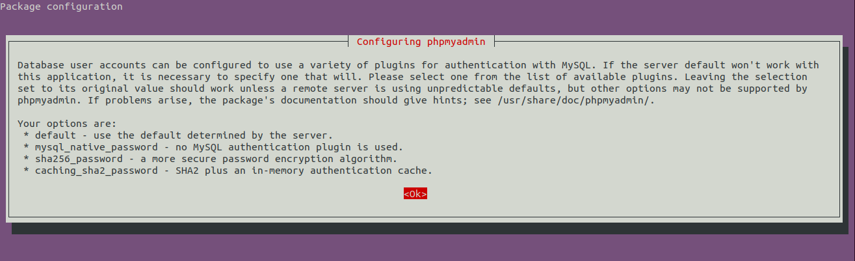 Install phpMyAdmin On Ubuntu 20.04 LTS - Password Algorithm