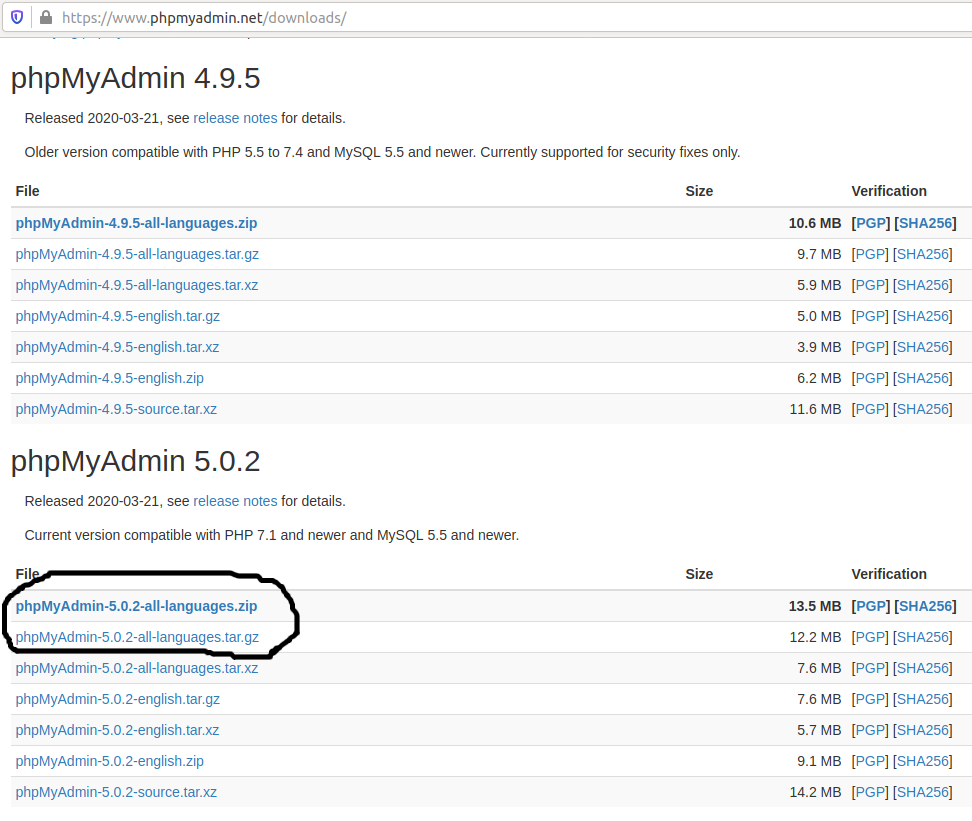 Install phpMyAdmin On Ubuntu 20.04 LTS - Download