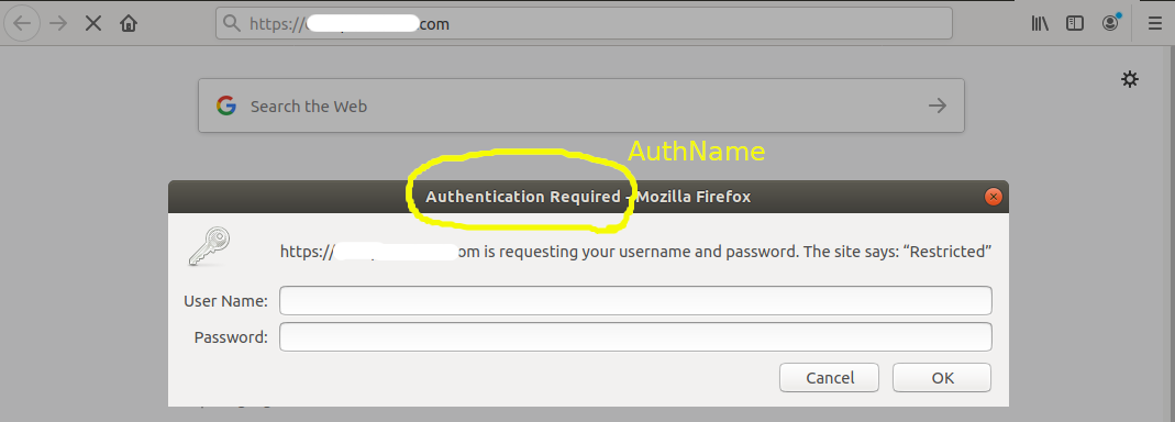 Basic Authentication - Apache - Auth Dialog
