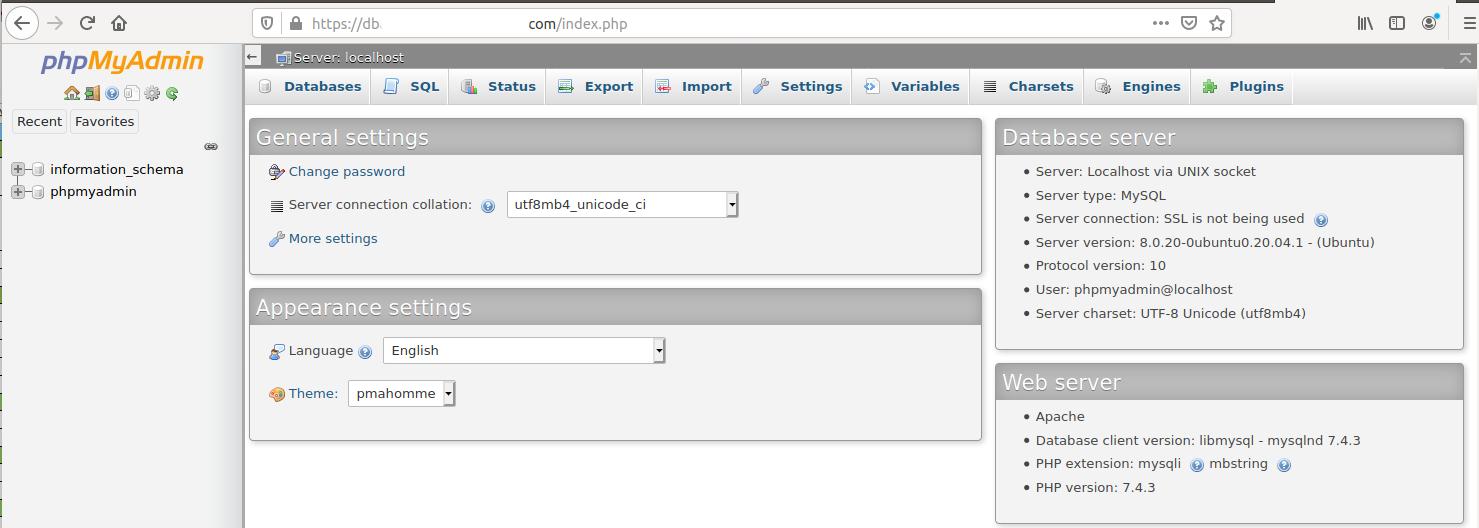 Install phpMyAdmin On Ubuntu 20.04 LTS - Dashboard