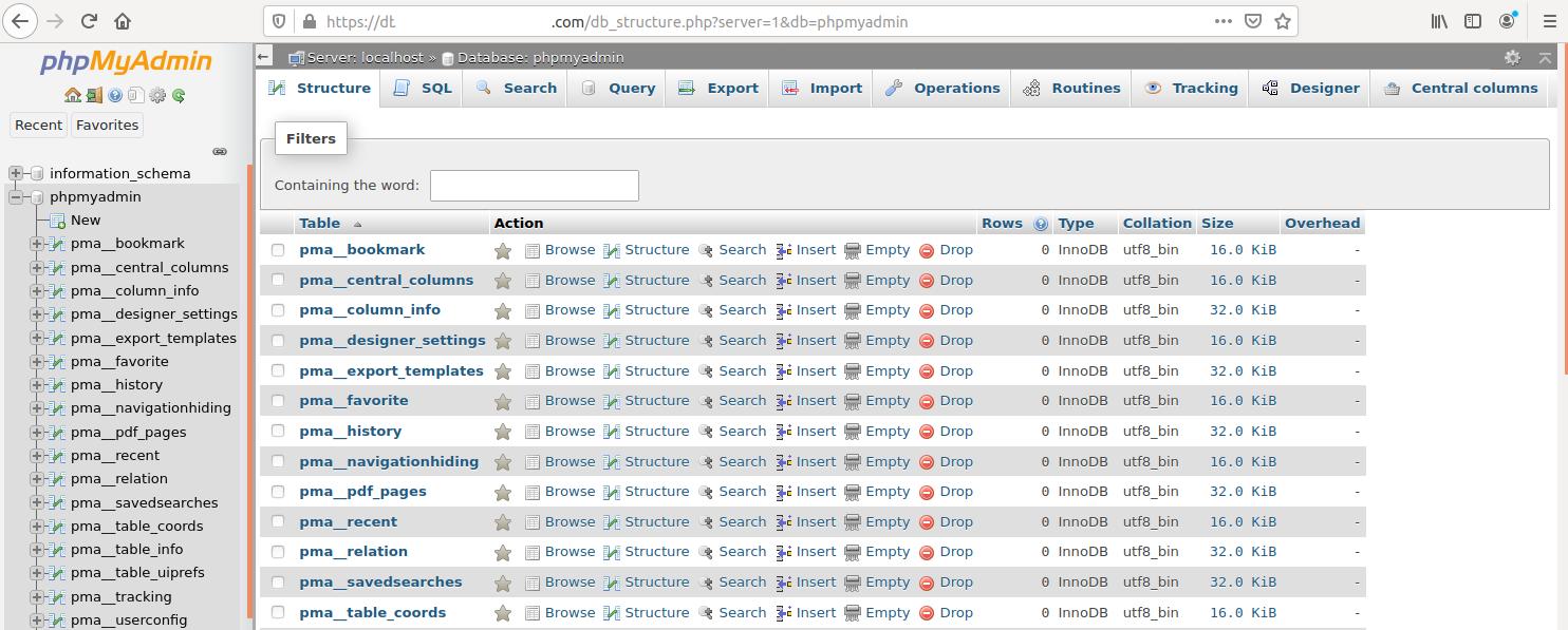 Install phpMyAdmin On Ubuntu 20.04 LTS - Database Tables
