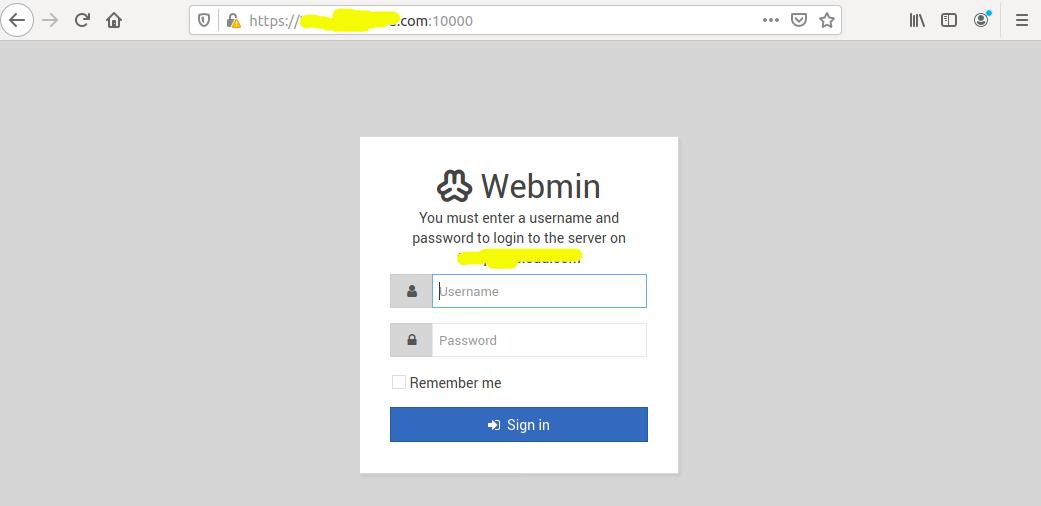 Install Webmin With Apache On Ubuntu 20.04 LTS - Login