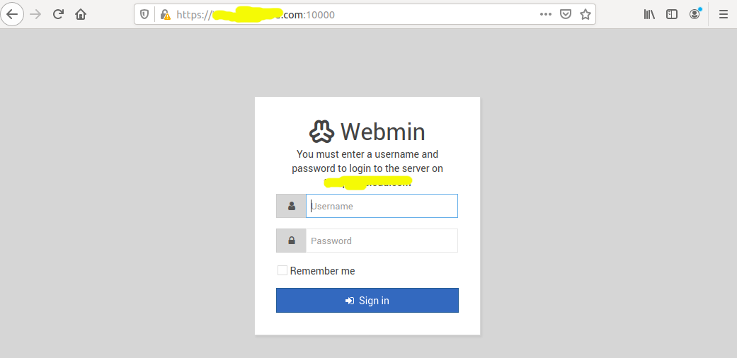Install Webmin With Nginx On Ubuntu 20.04 LTS - Login