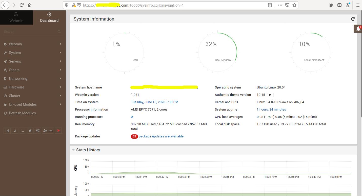 Install Webmin With Nginx On Ubuntu 20.04 LTS - Dashboard