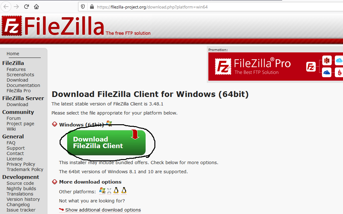 Install FileZilla On Windows 10 - Download Page