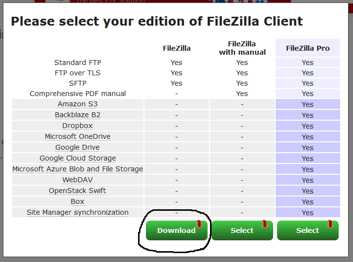 Install FileZilla On Windows 10 - Download Options