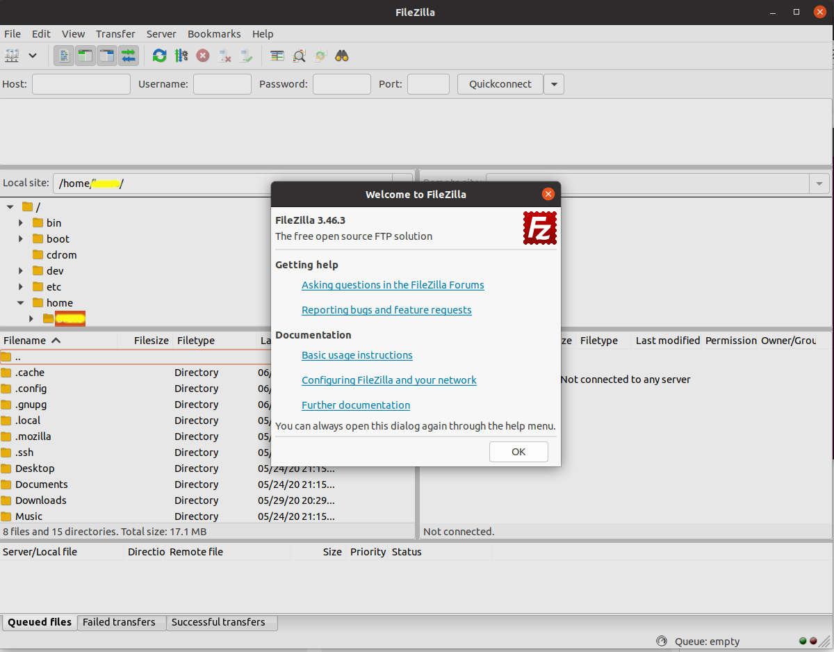 Install FileZilla On Ubuntu 20.04 LTS - Default