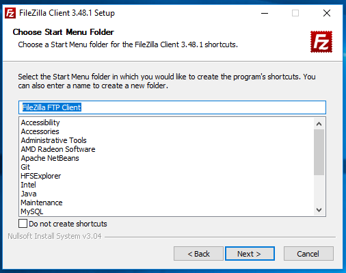 Install FileZilla On Windows 10 - Configure Start Menu