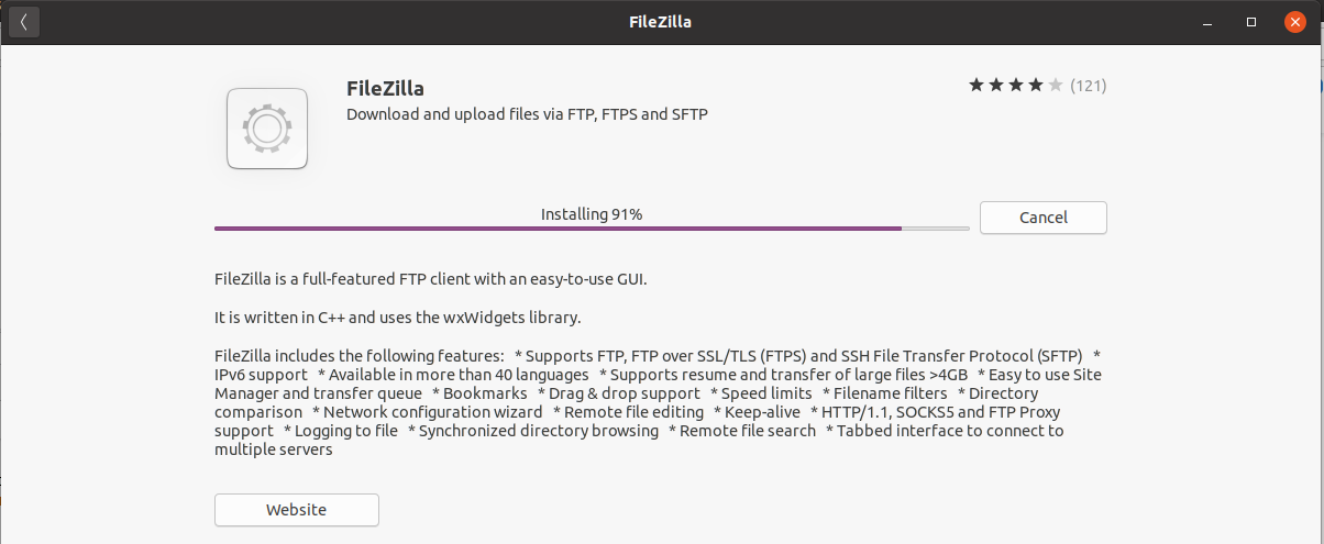 Install FileZilla On Ubuntu 20.04 LTS - Installation Progress