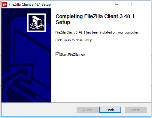 Install FileZilla On Windows 10 - Installation Complete