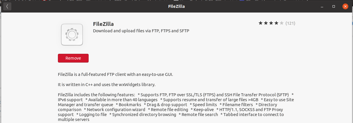Install FileZilla On Ubuntu 20.04 LTS - Installed